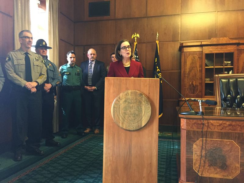 TRIBUNE PHOTO: PARIS ACHEN - Gov. Kate Brown announced efforts to resist Trump administration's executive order temporarily barring refugees and visa holders for several predominantly Muslim countries.