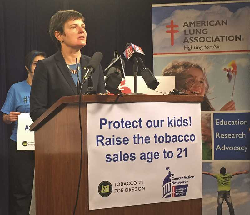 PAMPLIN MEDIA GROUP PHOTO: PARIS ACHEN - Sen. Elizabeth Steiner Hayward, D-Beaverton, announces legislation that would raise the legal smoking age to 21 during a news conference Wednesday at the State Capitol in Salem.