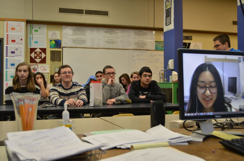 SPOTLIGHT PHOTO: NICOLE THILL - Students in Neil Ford's pre-engineering class engage in a conversation with a Beaver Hangouts coach in January via video conference on Skype. During the session the students talked about resumes and interviewing tips when applying for jobs.