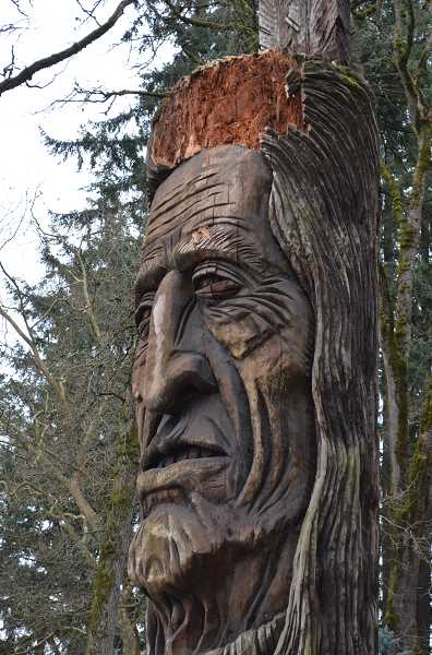 HILLSBORO TRIBUNE PHOTO: GEOFF PURSINGER - A close up of the Chief Kno-Tah statue shows the damage done to the iconic artwork, which has stood in Shute Park since 1987.