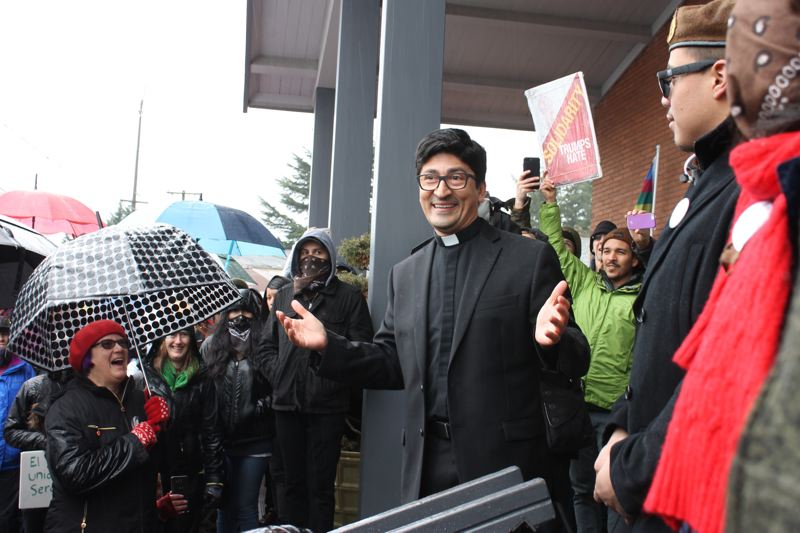 TRIBUNE PHOTO: LYNDSEY HEWITT - The Rev. Raúl Márquez told the crowd he was appreciative of the support before mass began Sunday, Feb. 5.
