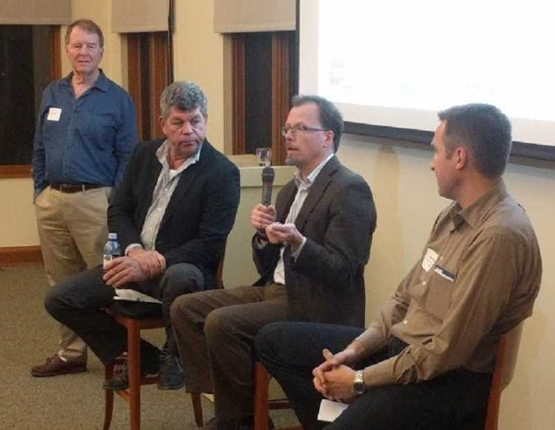 REVIEW PHOTO: ANTHONY MACUK - Randy Miller, Paul Schwer and Bart Ricketts discuss how sustainable building techniques can be employed in Lake Oswego during a panel discussion moderated by Duke Castle.