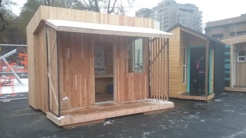COURTESY: MARK LAKEMAN/VILLAGE COALITION - The pods have been built and are ready to use. They are between 6-by-8 feet and 8-by-12 feet wide and as tall as 10-by-8 feet.