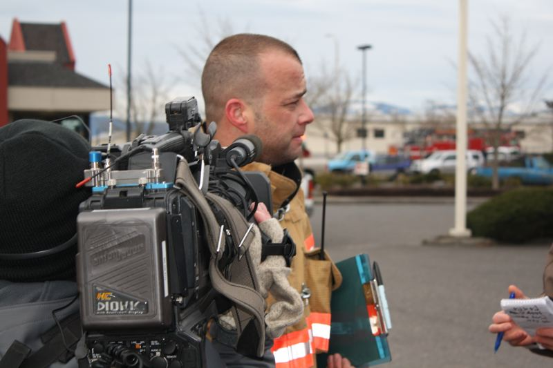 OUTLOOK PHOTO: ZANE SPARLING - Battalion Chief Jason McGowan speaks with reporters on Thursday, Feb. 2.