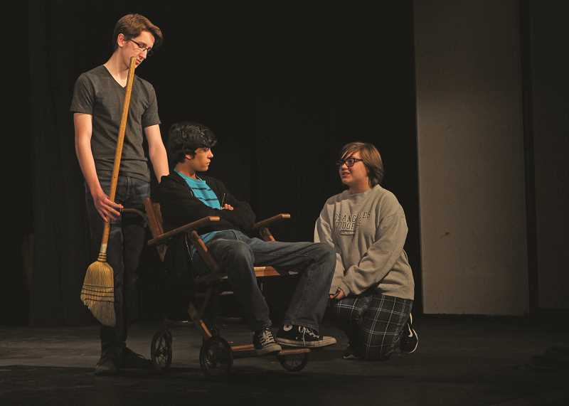 INDEPENDENT PHOTO: JULIA COMNES - Freshman Anna Koffler (right) stars as Mary in WACA's production of the Secret Garden, while Eddie Torres (center) plays the character Colin and Conner Williams (left) plays the character Dickon.