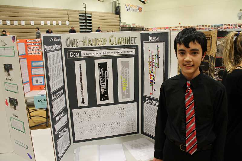 SPOKESMAN PHOTO: ANDREW KILSTROM - Wood's Lui Blomberg created a design for a one-handed clarinet for his project.