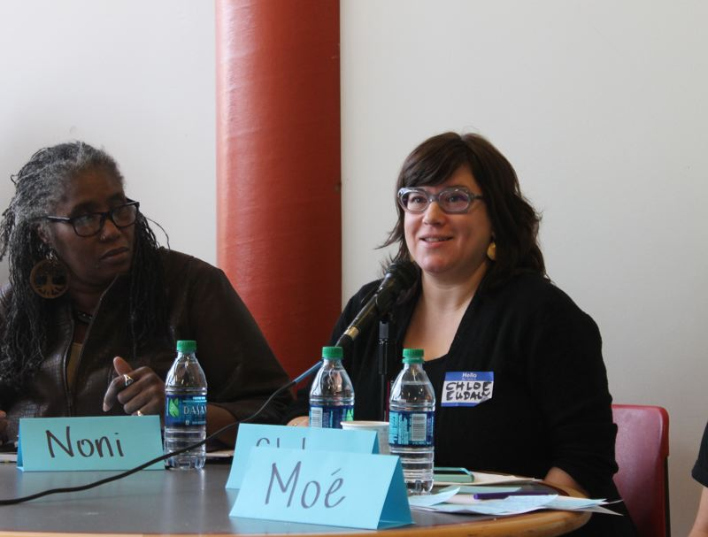 TRIBUNE PHOTO: LYNDSEY HEWITT - From left: Noni Causey, of the NAACP and Portland Commissioner Chloe Eudaly.
