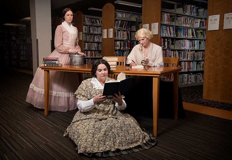 COURTESY PHOTO: CASEY CAMPBELL PHOTOGRAPHY - Jessi Walters plays Anne, Cassie Greer plays Charlotte and Morgan Cox plays Emily in Bag& Baggage's 'Bronte.'
