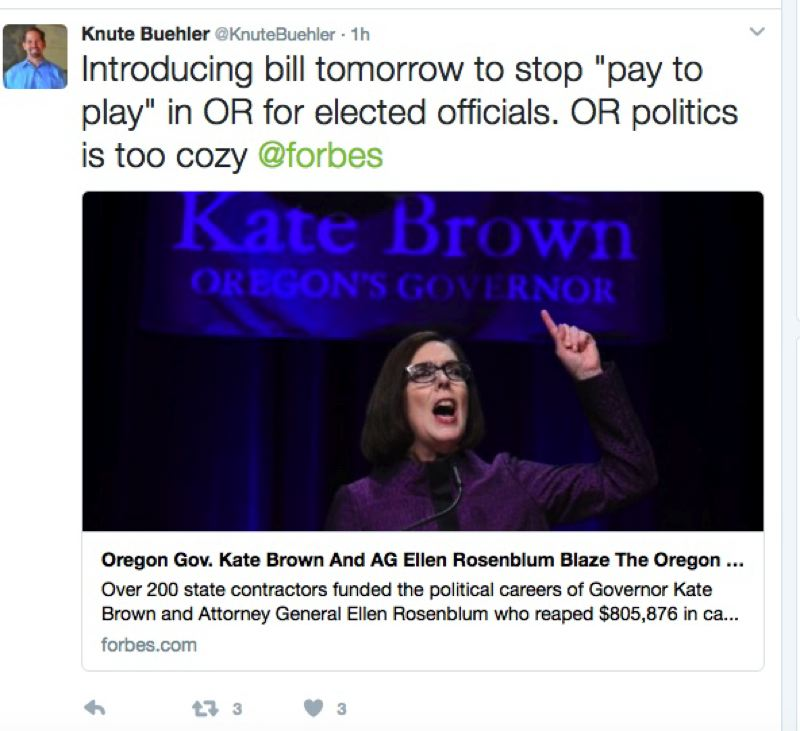 TWITTER - Rep. Knute Buehler, R-Bend, tweets out a link to an opinion piece Feb. 13, 2017, about state contractors contributing to Oregon elected officials' campaigns.