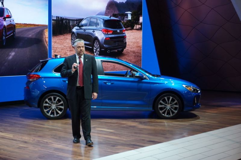 PORTLAND TRIBUNE: JEFF ZURSCHMEIDE - Hyundai Product Manager Michael Evanoff presented the 2018 Hyundai Elantra GT at the Chicago Auto Show. The Elantra GT will be offered with a 2.0-liter powerplant makes an estimated 162 peak horsepower and a 1.6-liter turbo engine generating 201 peak horsepower.
