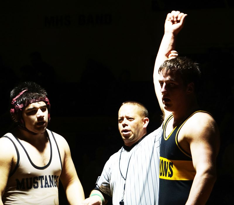 PHOTO CREDIT: AMY GADBOIS - Lions senior Colton Albertson, right, the Northwest Oregon Conference's 220-pound champion, can place at the Class 5A State Championships for the first time.
