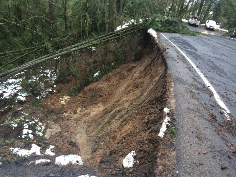 COURTESY MULTNOMAH COUNTY - Northwest Newberry Road may have to be rerouted before it can be reopened because of the landslide undermining part of it.