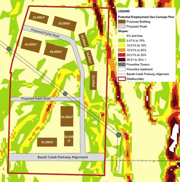 """COURTESY OF THE CITY OF TUALATIN - A map included in the Mackenzie analysis shows a proposed layout that would yield about 315,000 square feet of building space in the 63-acre """"central subarea"""" of the larger Basalt Creek area, if it were developed for industrial use."""