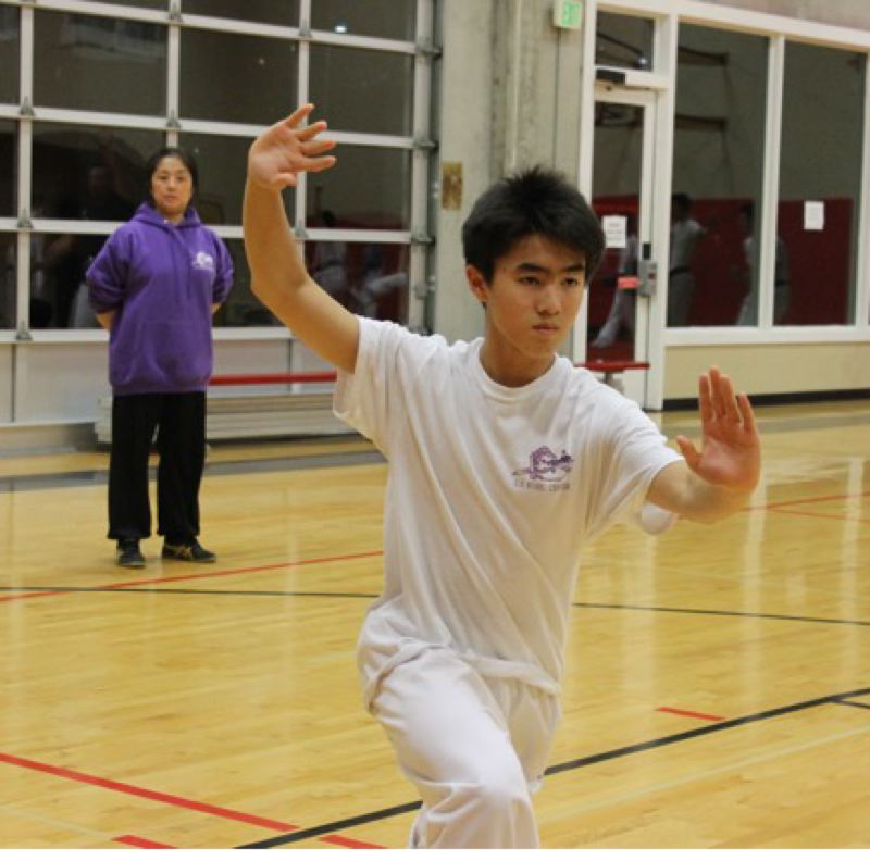 TRIBUNE PHOTO: LYNDSEY HEWITT - Alexander Yu, a Catlin Gabel student who recently won world gold medals, works out at U.S. Wushu Center under the guidance of his mother, Jiamin Gao. It's a family affair in martial arts.