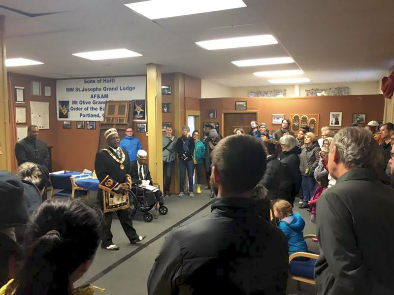 COURTESY PHOTO: KNOW YOUR CITY  - The Sons of Haiti Masonic Lodge is one of the last black-owned properties in the Albina District, due to gentrification. Tour-goers hear stories about local black leaders roots, successes and struggles as part of Black History Month.