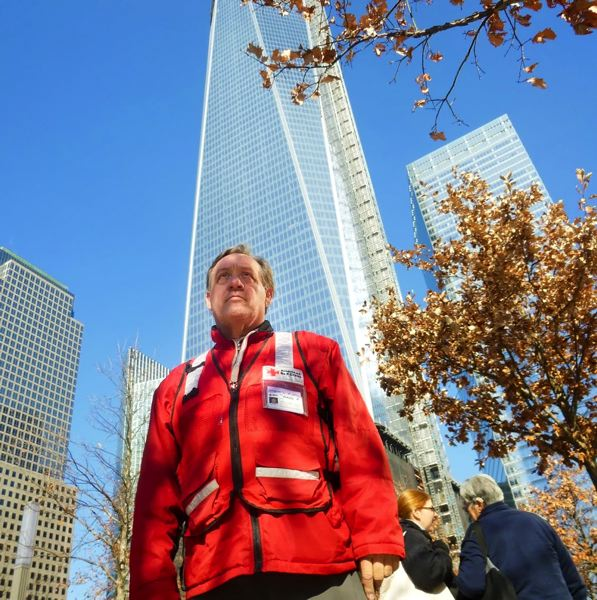 COURTESY PHOTO - Okay Hill stands at Ground Zero in New York, New York during Hurricane Sandy in 2012. For the record, 'Okay' is a family name, passed on from Hill's grandfather.
