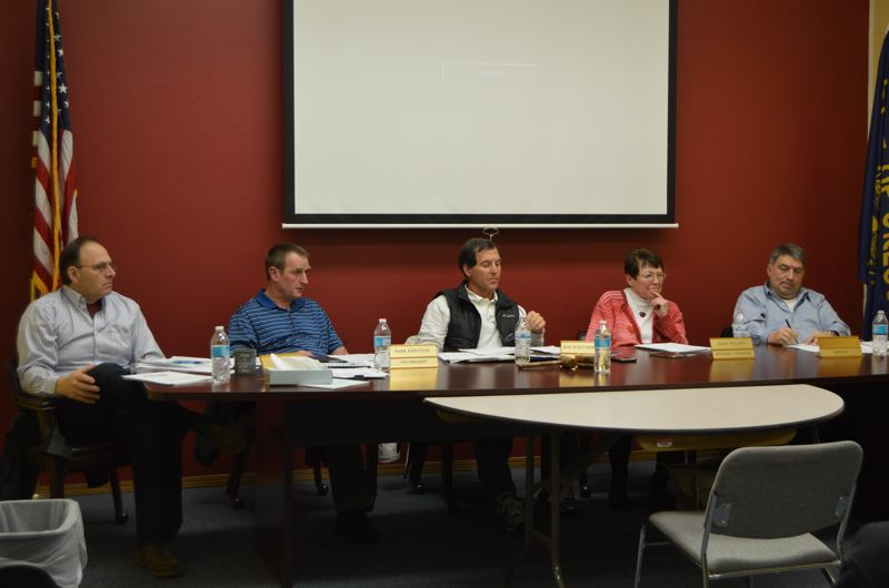 SPOTLIGHT PHOTO: NICOLE THILL - The Columbia River Fire and Rescue board of directors talks about planning for the 2017-18 fiscal year budget during a meeting Tuesday, Feb. 14. The budget process for the fire district will begin sometime in March.