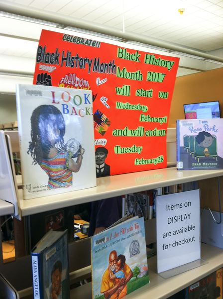 OUTLOOK PHOTO - The Rockwood Library has a display on Black History Month designed to entice young readers to learn about the country's past.