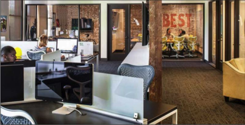 COURTESY: PETE ECKERT - The newly redesigned offices at Bright.md shifts away from the open floorplan trend of recent years and embraces a combination of open space and private spaces where employees can meet to have conversations or a quiet space to work.
