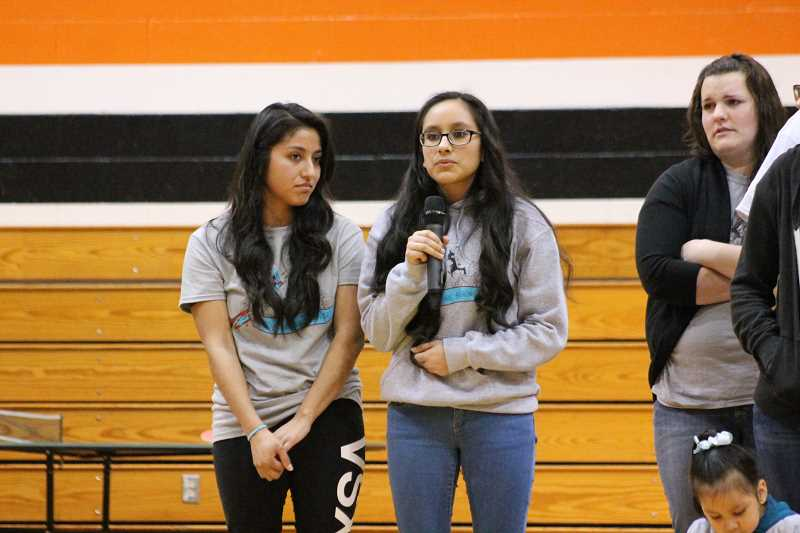 PIONEER PHOTO: CONNER WILLIAMS  - Galilea Suarez takes the microphone after the reveal to thank the members of the Molalla community.