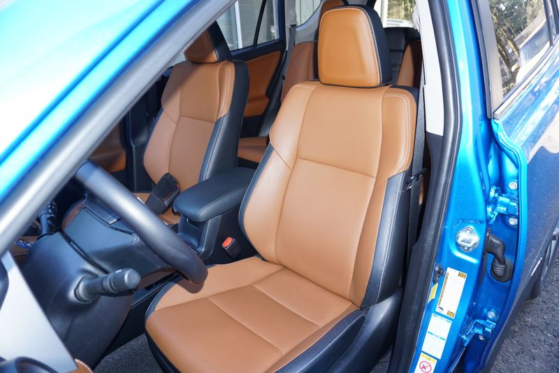 "PORTLAND TRIBUNE: JEF ZURSCHMEIDE - The RAV4 offers some bold interior styling, with available features like saddle brown leather upholstery inserts that Toyota calls ""Terra Cotta."""