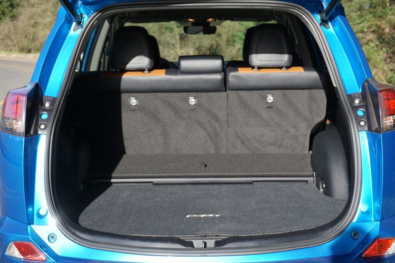 PORTLAND TRIBUNE: JEFF ZURSCHMEIDE - The RAV4 offers an impressive amount of cargo space for a compact crossover SUV, and can hold even more with the rear seats folded down.