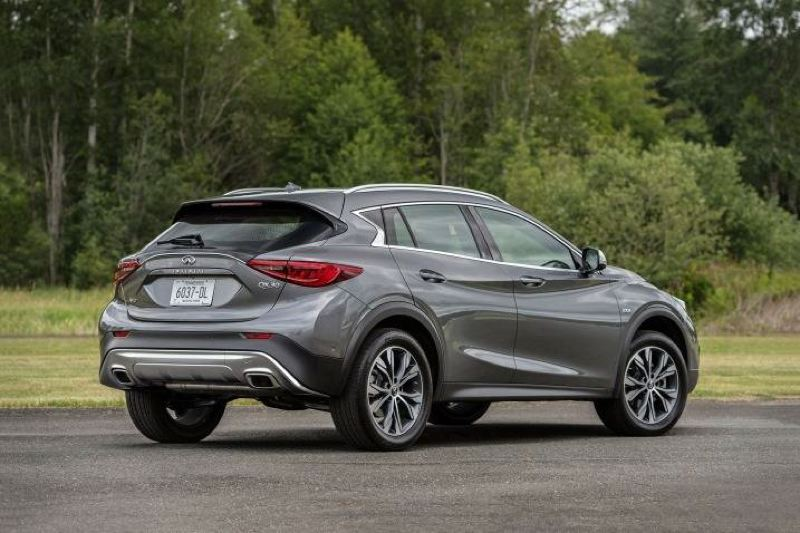 COURTESY INFINITI - The 2017 Infiniti QX30 looks as good going as coming, with an aggressive stance and sharply chiseled lines.