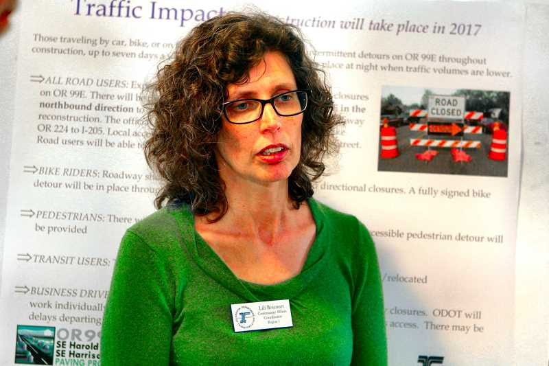 DAVID F. ASHTON - At a previous meeting in Sellwood, ODOT Region 1 Community Affairs Coordinator Lili Boicourt told how traffic will be impacted during the McLoughlin Boulevard rebuilding project, especially near the Crystal Springs Creek bridge.