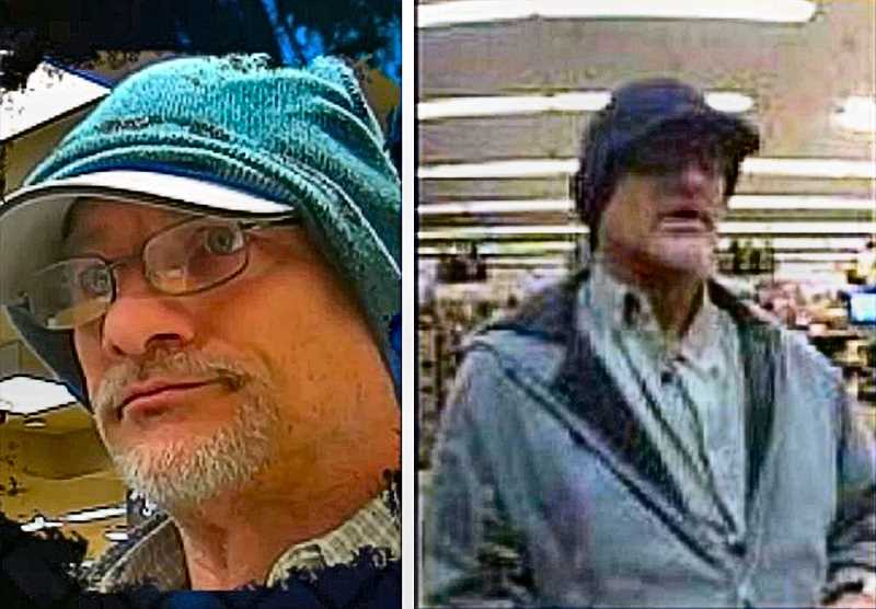COURTESY OF PORTLAND POLICE BUREAU - The Double Hat Bandit is suspected of holding up three Utah banks in December, and two Spokane area credit unions - both of them inside Safeway stores - in January, before sticking up the Woodstock Wells Fargo Bank. Recognize him? Call the police!