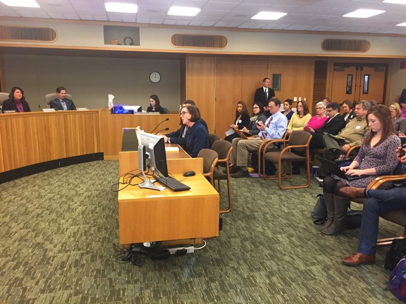 PARIS ACHEN/CAPITAL BUREAU - Gov. Kate Brown testifies in support of a bill to expand health coverage to undocumented children, during a hearing in the House Committee in Health Care at the Oregon Capitol in Salem Monday, Feb. 20.