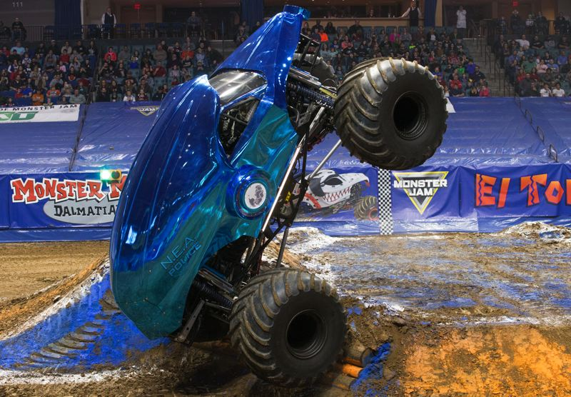 COURTESY: MONSTER JAM - Travis Groth pilots the new-age truck New Earth Authority Police in Monster Jam. He says: 'It's growing in popularity, but there's a few more Zombie fans.'