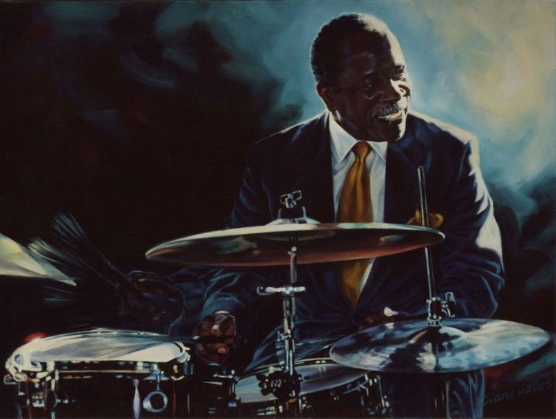 COURTESY: DIANE RUSSELL - Mel Brown is depicted in artist Diane Russell's painting. Russell has an exhibit showing at ArtBar in Antoinette Hatfield Hall, 1111 S.W. Broadway, that coincides with the Portland Jazz Festival.