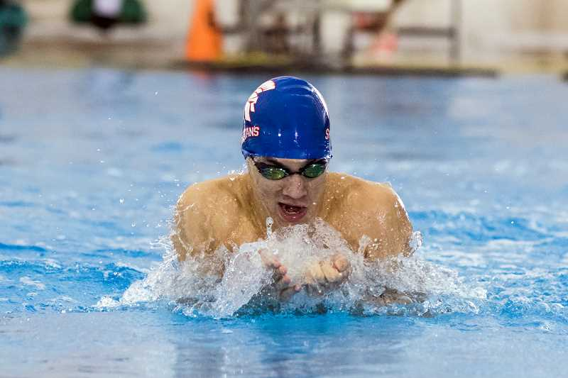 HILLSBORO TRIBUNE PHOTO: CHASE ALLGOOD - Hilhi's Caden Spangler swims the 100 Yard Breaststoke during the state championships Feb. 18 at Mt. Hood Community College.