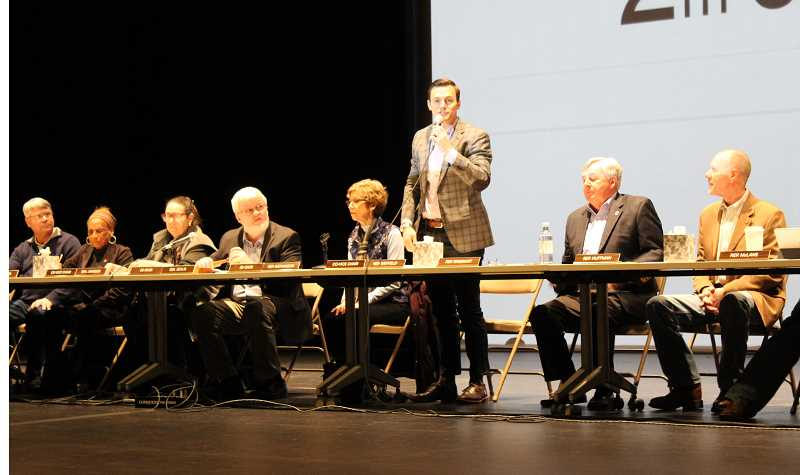 HOLLY M. GILL - Rep. Dan Rayfield, of Corvallis, a member of the Oregon Joint Committee on Ways and Means, introduces himself Saturday, when the committee took testimony on the state's 2017-19 budget at the Madras Performing Arts Center. Rep. John Huffman, of District 59, is seated at right.