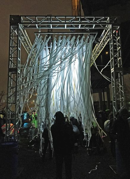 PAMPLIN MEDIA GROUP: BRIAN LIBBY - Immersive Jelly by Ivan McLean features fabric streamers hanging from a steel frame and illuminated with constantly changing colors, under which visitors could pass through like cars going through a carwash.