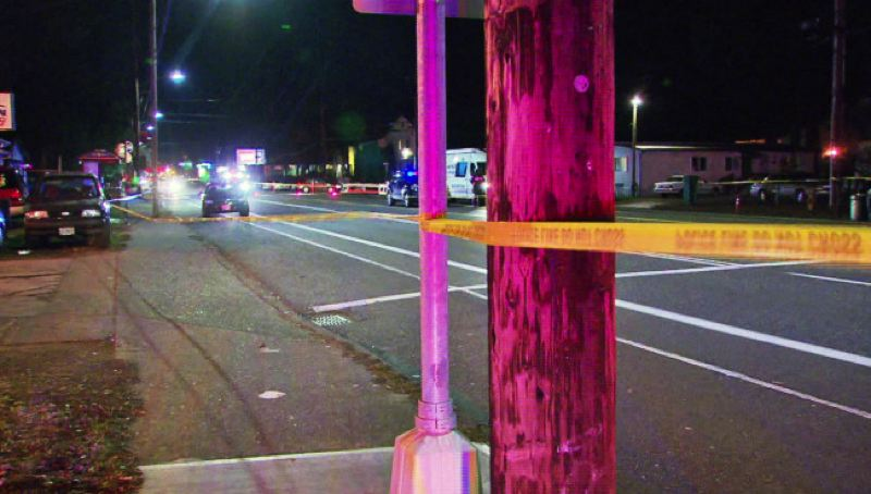 KOIN 6 PHOTO - A pedestrian was hit by a car and killed on SE Division Street, December 7, 2016.