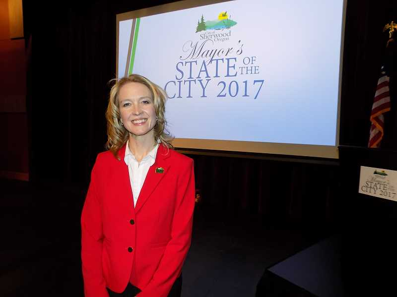 GAZETTE PHOTO: RAY PITZ - Sherwood Mayor Krisanna Clark delivered her 2017 State of the City address on Feb. 23 at the Sherwood Center for the Arts.