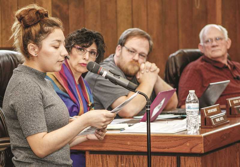 NEWS-TIMES FILE PHOTO - Angie Flores, then a junior, testified before the Forest Grove School Board last spring about racial tensions at Forest Grove High School. Eddie Bolanos tried to recruit Flores to run for election to the board this year.