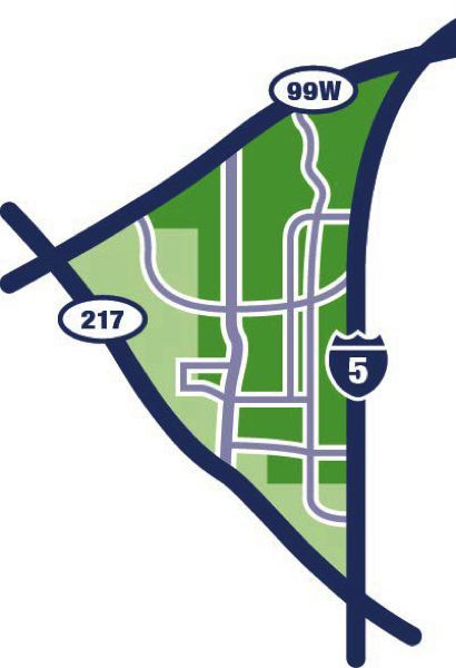 COURTESY OF THE CITY OF TIGARD - The Tigard Triangle is so named because it is surrounded by Highway 99W to the north and west, Highway 217 to the west and south, and Interstate 5 to the east.