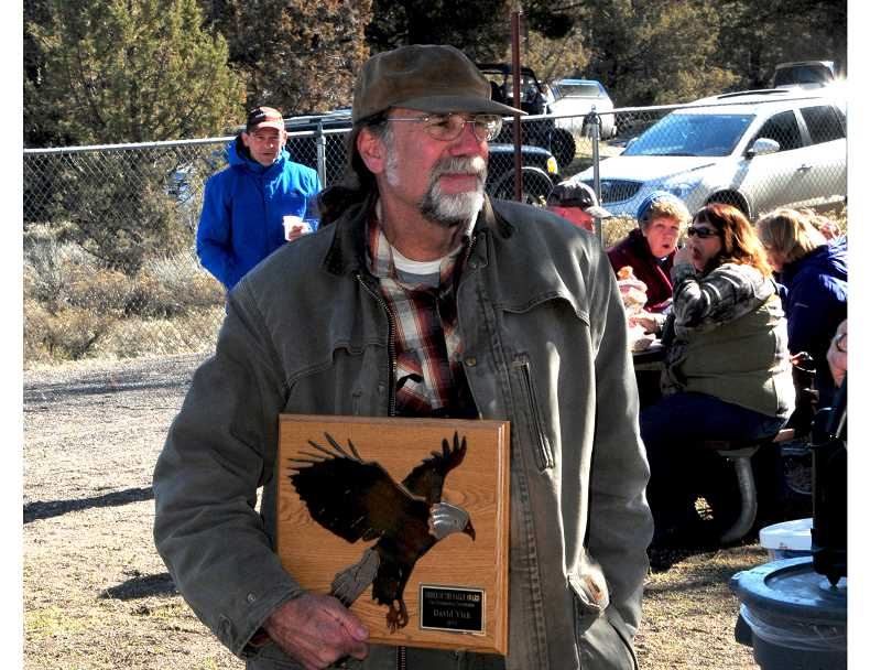 BILL VOLLMER - David Vick, of Terrebonne, receives the 2017 Order of the Eagle Award on Saturday, for his contributions to the study of raptors. Vick is a retired Madras High School science teacher.