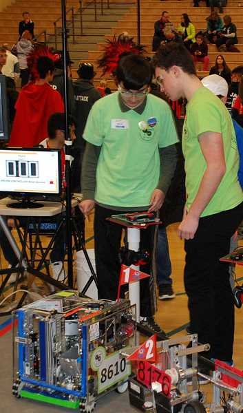 SUBMITTED PHOTO: OREGON ROBOTICS TOURNAMENT & OUTREACH PROGRAM - TOBOR Tech qualified to compete at the state event with its robot, which bears their team number, 8610.