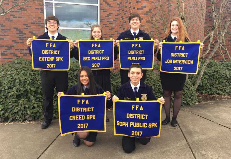 MACKENZIE BEHRLE - All of the students who placed 1st in their contest L-R are Ryan Dunigan, Natalee Litchfield, John Cross, Audrey Andrews, Emilie Mendoza and David Fregoso