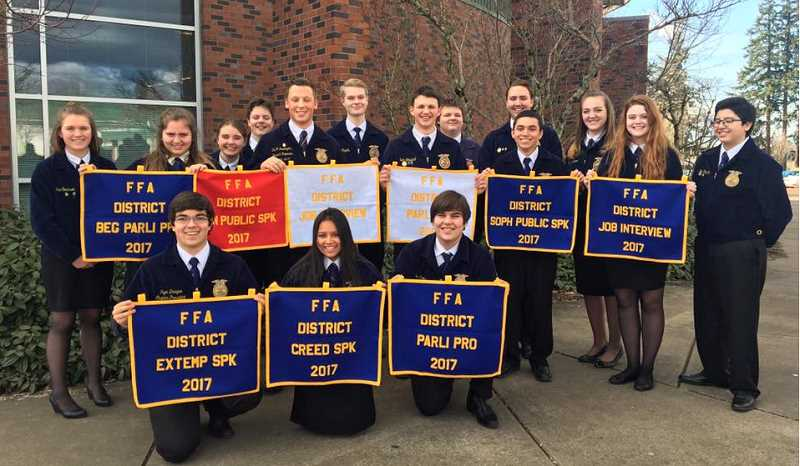 MACKENZIE BEHRLE - A group photo of Molalla FFA members from the district contests.