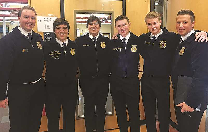 MACKENZIE BEHRLE - Molalla FFA 1st place Advanced Parliamentary Procedure team L-R are Jon Aasland, Ryan Dunigan, John Cross, Artemy Ivanov, Gavin Barrett and Del DeAngelis