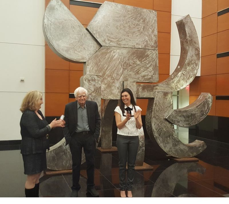 COURTESY PHOTO - Artist and gallery owner Elizabeth Leach (left) introduces Lee Kelly (center) last week at the public unveiling of his latest sculpture to be installed in Portland, 'Akbar's Elephant,' a 15-foot piece weighing 2,000 tons. Vanessa Sturgeon, president and CEO of TMT Development, looks on.