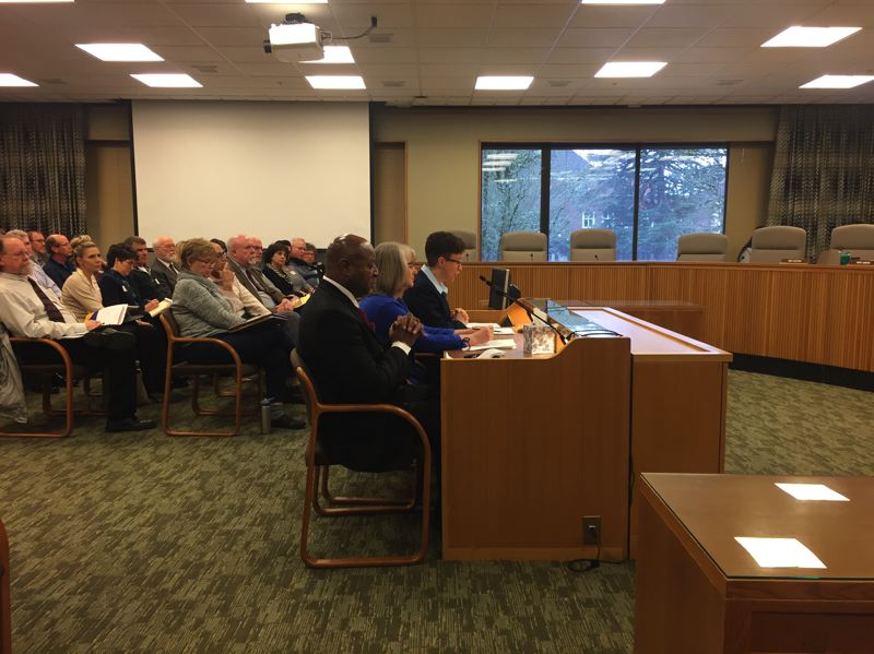 PARIS ACHEN/CAPITAL BUREAU - House Speaker Tina Kotek, D-Portland, (right) testifies in the House Human Services and Housing Committee Thursday, March 2, in support of a bill to lift a statewide ban on rent increase limits and to outlaw no cause evictions.