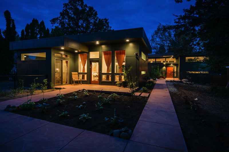 PHOTO BY JEFFREY FREEMAN, COURTESY OF ACCESSORYDWELLINGSTRATEGIES.COM - This new Accessory Dwelling Unit in Portland, in the foreground, was built as an attachment to the main house.