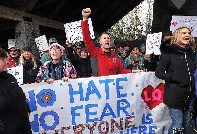 REVIEW PHOTO: VERN UYETAKE - Former Lake Oswego City Councilor Jon Gustafson was among the participants in Saturday's 'Stand for LOve.'