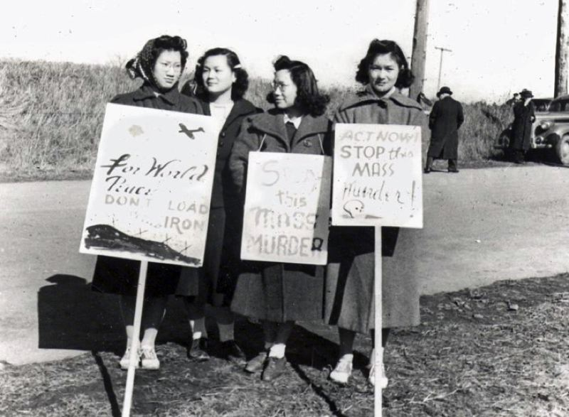 PHOTO COURTESY OF ROBERT H. LEONG - From 1930 to 1939, Mary Leong (far left) participated in public demonstrations against sales of steel and iron from the USA to Japan as part of the pro-China war efforts.