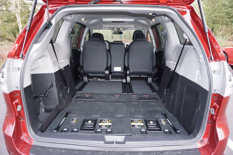 PORTLAND TRIBUNE' JEFF ZURSCHMEIDE - Cargo space in the 2017 Toyota Sienna is awesome with the third row of seats folded into the floor.